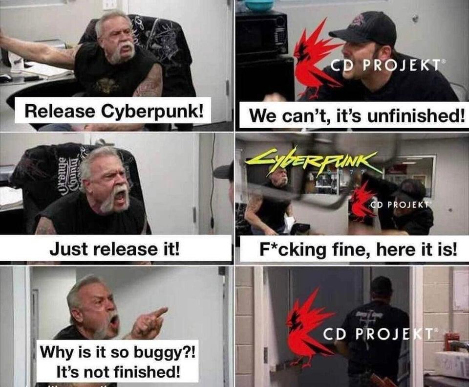 Meme CD projekt Red release Cyberpunk 2077